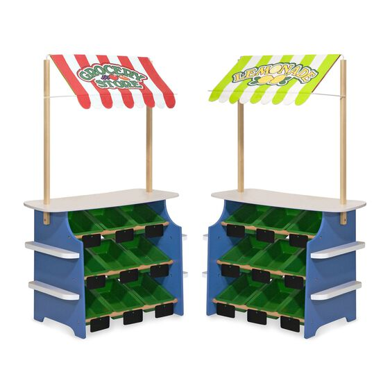 Wooden grocery store and lemonade stands