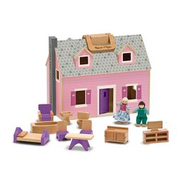 Foldable mini wooden dollhouse with wooden dolls and miniature furniture