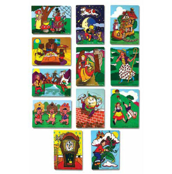 Set of 12 puzzles displaying various fairy tales and nursery rhymes