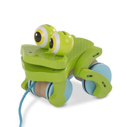 Rolling wooden frog with pull rope