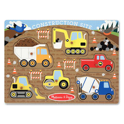 Six piece construction site peg puzzle with construction vehicle pieces