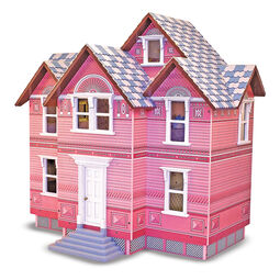 Pink wooden dollhouse