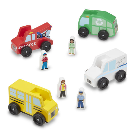 Wooden tow truck, garbage truck, mail truck, and school bus with wooden people figures
