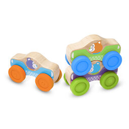 Three stackable cars with painted animal drivers