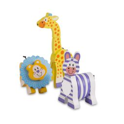 Lion, Zebra, and giraffe wooden grasping toys