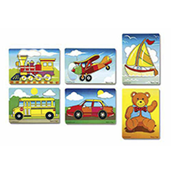 Set of six puzzles with train, plane, sailboat, school bus, car, and teddy bear puzzles