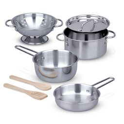 Stainless steel pots and pans with wooden spatula and spoon