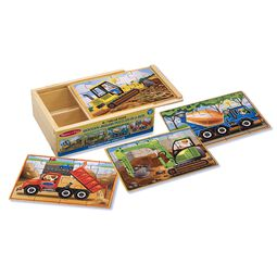 Four construction vehicles jigsaw puzzles in a wooden box