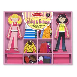 Magnetic dress-up set with two wooden girl dolls