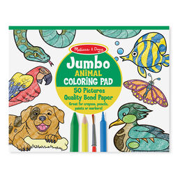Jumbo coloring pad cover with animals