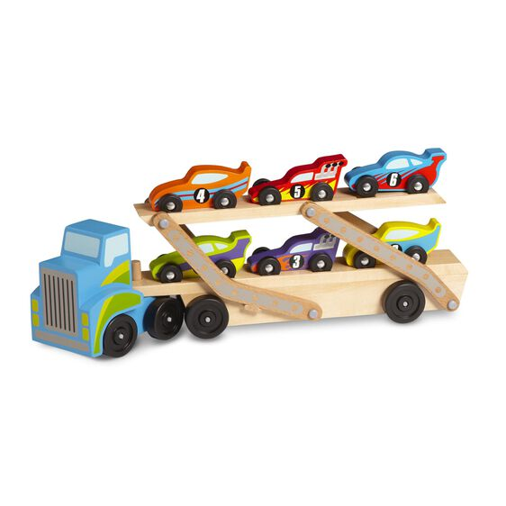 Wooden race car carrier truck carrying six race cars