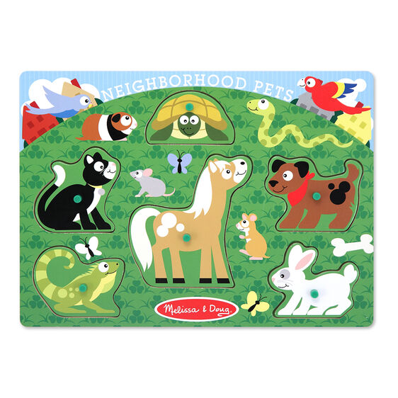Six piece pets peg puzzle with Cat, Lizard, Turtle, Horse, Dog, and Rabbit pieces