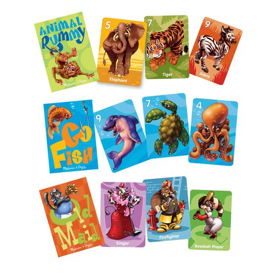 Animal rummy, go fish, and old maid cards