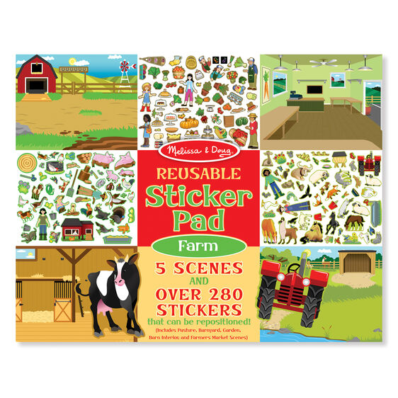 Reusable sticker pad cover with farm scenes and stickers