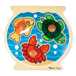 Three piece jumbo knob puzzle in the shape of a fishbowl with fish, crab, and turtle pieces