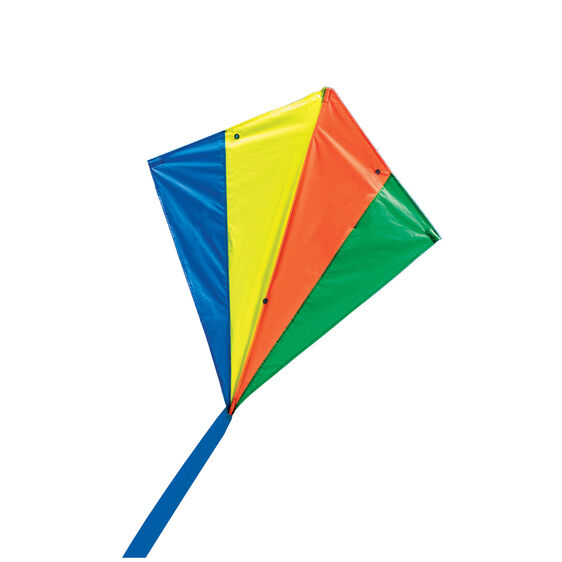 Blue, yellow, red, and green rhombus shaped kite with blue tail