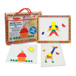 Magnetic pattern blocks and board with example art sheets