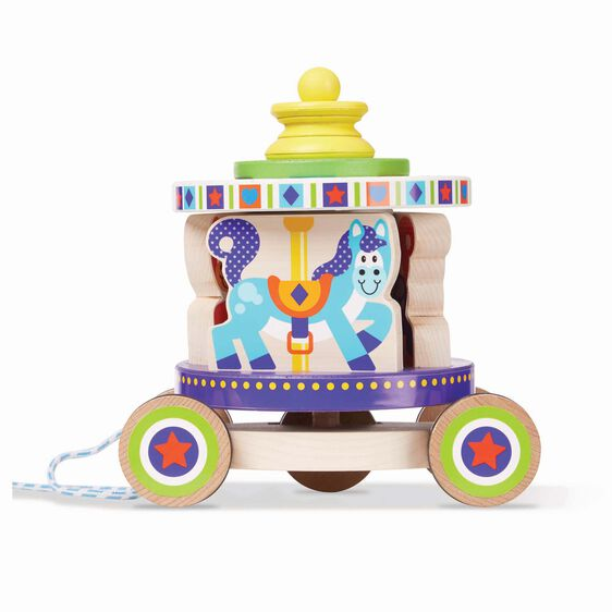 Rolling carousel pull toy