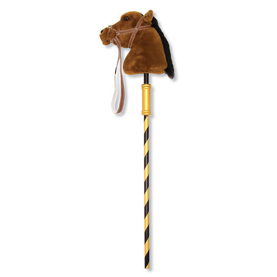 Galloping toy with Striped pole topped with plush horse head