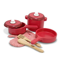 Three red wooden pots and pans with oven glove and serving utensils