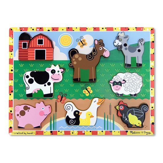 Eight piece farm chunky puzzle with barn, Cow, Pig, Horse, Duck, Goat, Sheep, and Chicken pieces