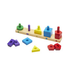 Wooden shapes stack and sort board with circle, rectangle, triangle, square, and pentagon pieces