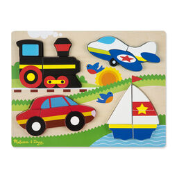 20 piece chunky puzzle with train, airplane, car, and sailboat