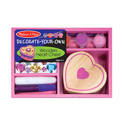 Wooden heart box and decoration materials in packaging
