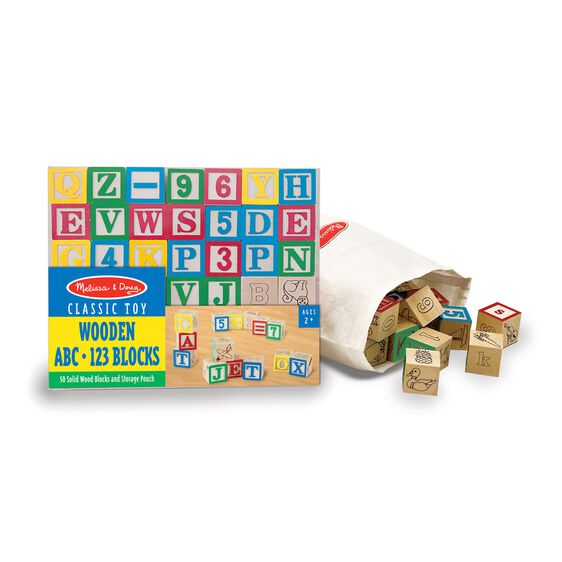 50 colored wooden blocks in packaging next to canvas bag full of wooden blocks