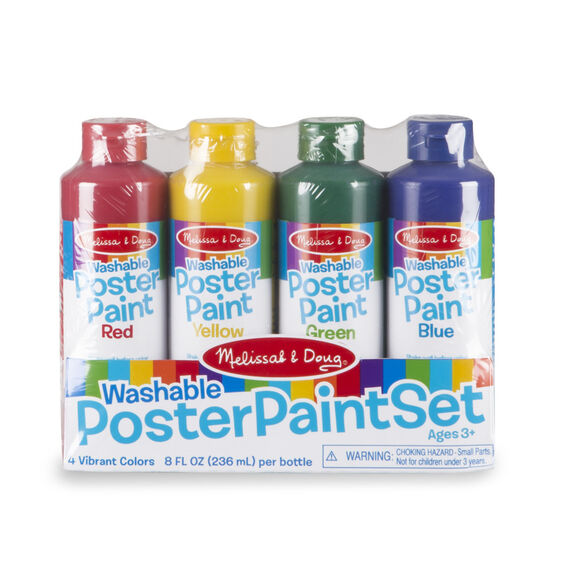Four washable poster paint containers