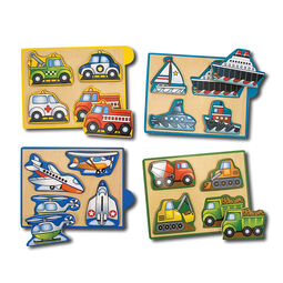 Vehicles mini puzzle pack in wooden box