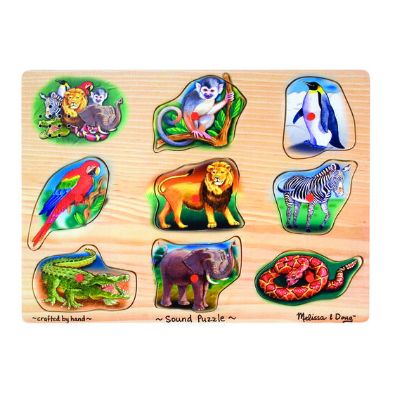Sound puzzle with various zoo animal pieces