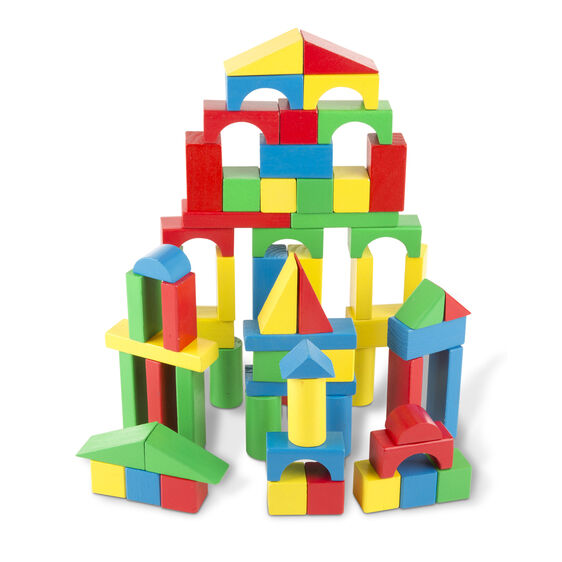 100 piece colored wooden blocks
