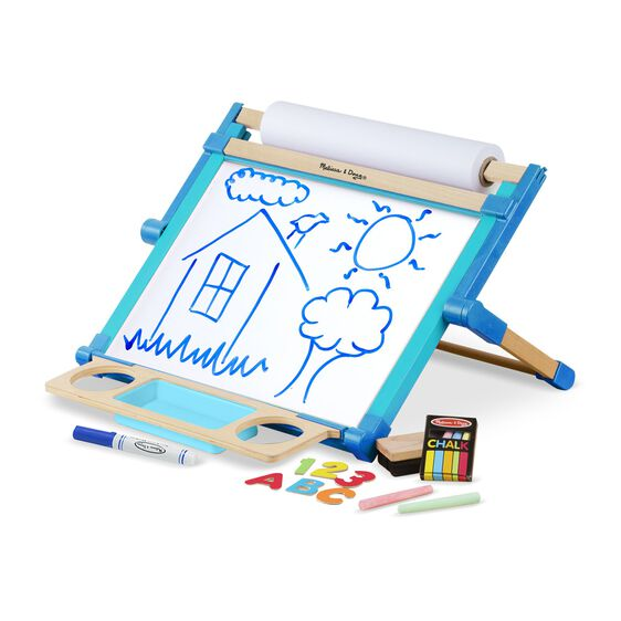 Double sided table top easel with dry-erase board and chalk board with chalk, eraser, marker, and magnetic letters