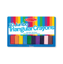 Ten large triangular crayons in packaging