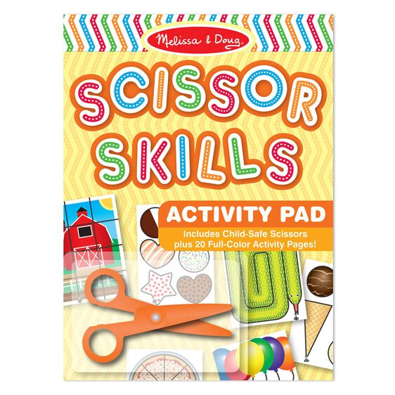 Activity pad with various colored scissor activity pages
