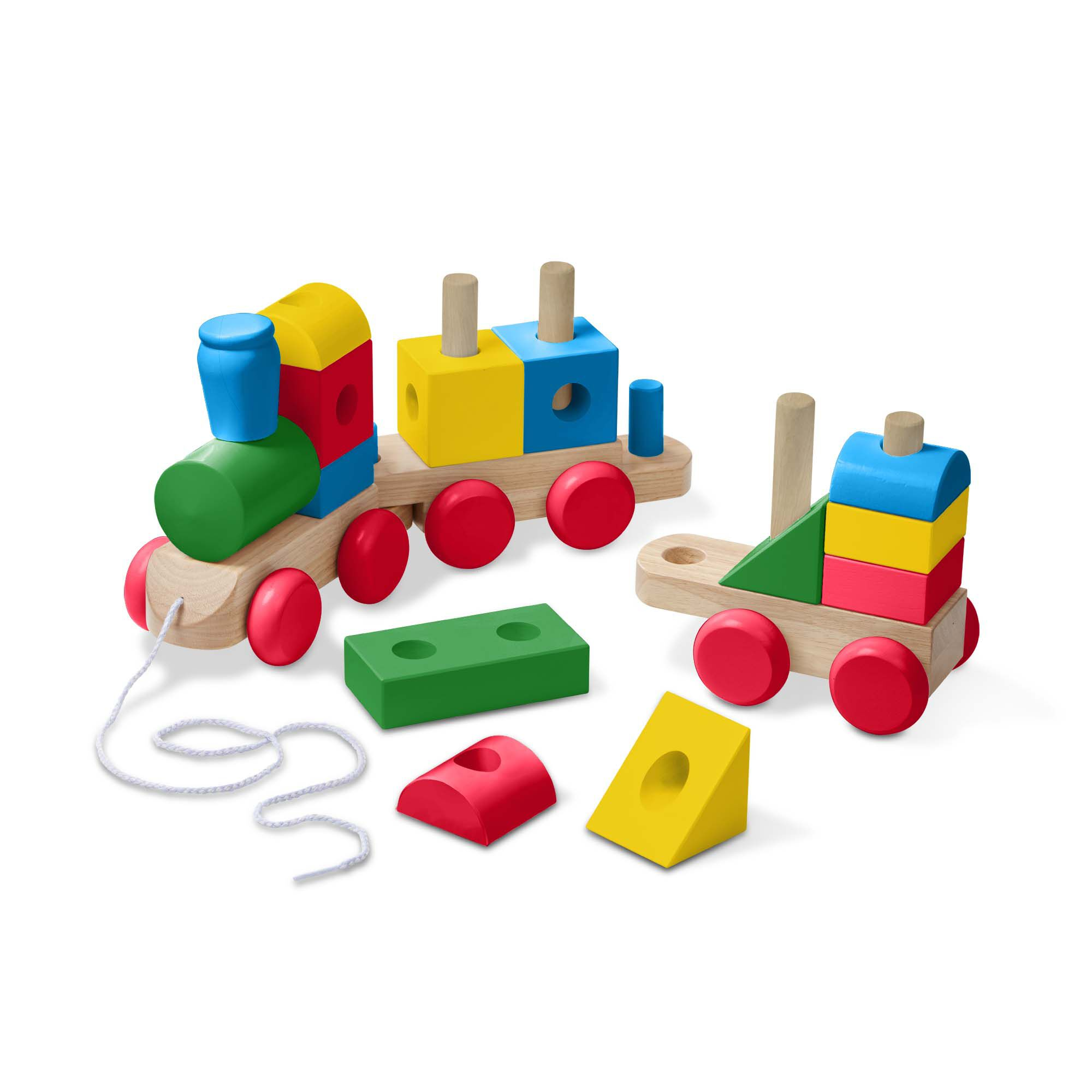 Colorful Baby Wooden Stacking Toy Pull Train Wood Building Blocks Toys