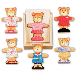 Wooden bears with various wooden dress up pieces
