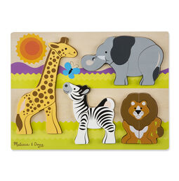 20 piece chunky puzzle with Giraffe, Elephant, Zebra, and Lion