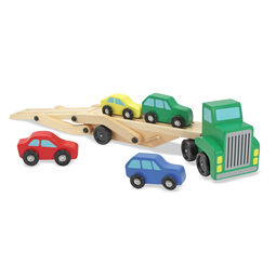Wooden car carrier truck with wooden cars