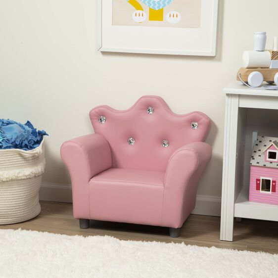 Child's Crown Armchair - Pink Faux Leather - Melissa And Doug