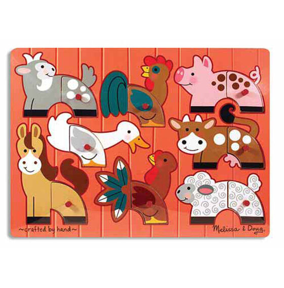 Eight piece farm animal peg puzzle with red background