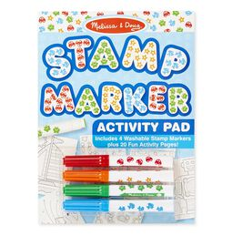 Stamp marker activity pad and markers in packaging