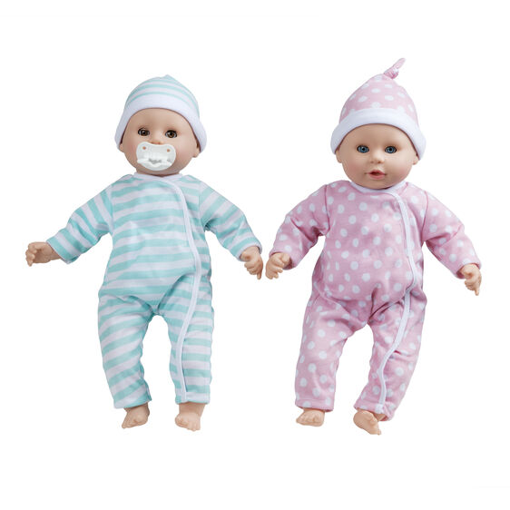Two baby dolls with hats and onesies