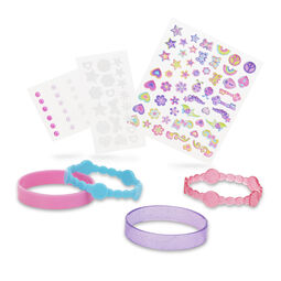 Sheets of jewelry accessories and undecorated bracelets