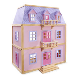Multi-level pink wooden dollhouse