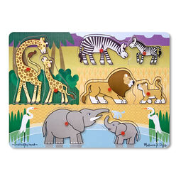Eight piece peg puzzle with Giraffes, Zebras, Lions, Elephants, and Swans