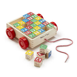 Wooden cart with red wheels and a pull string filled with 30 multi-colored wooden blocks