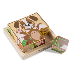 Nine piece wooden cube puzzle showing picture of dog