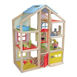 Three floor wooden dollhouse